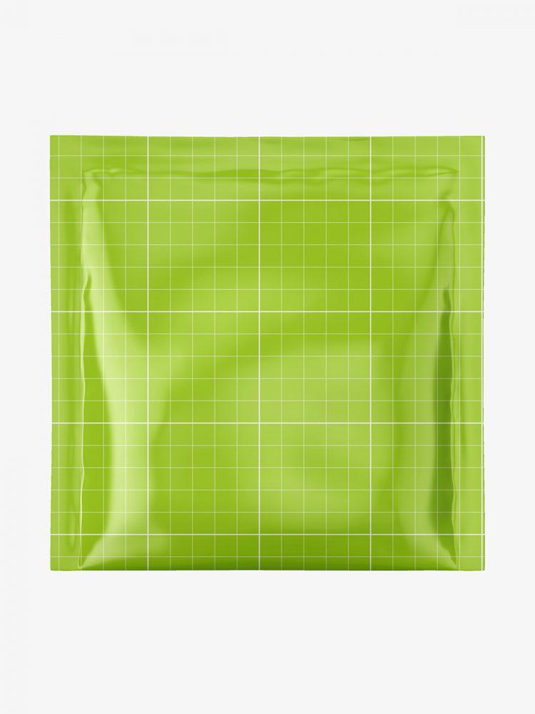 Square sachet mockup / glossy