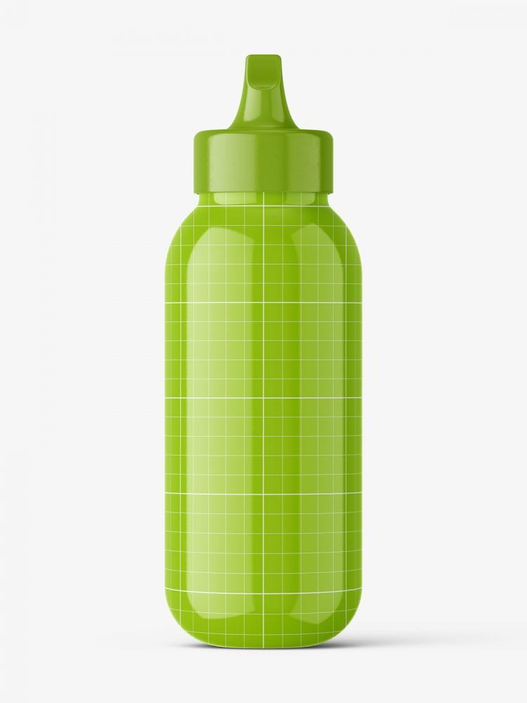 Glossy bottle with spout cap mockup