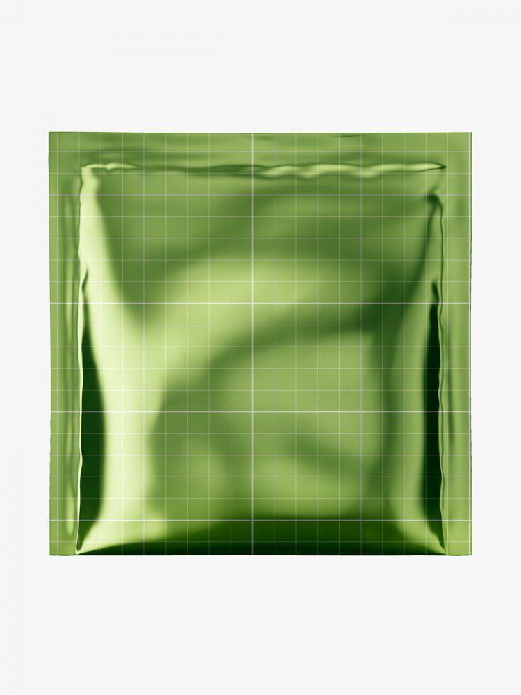 Square sachet mockup / metallic