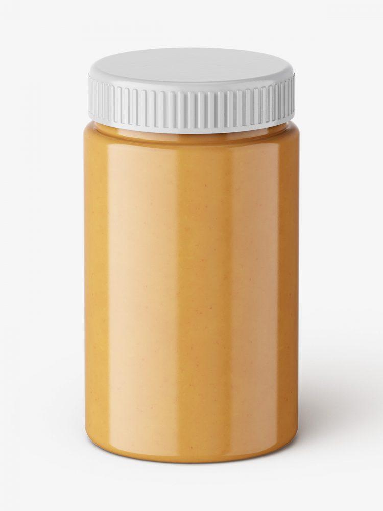 Peanut butter jar mockup / top view