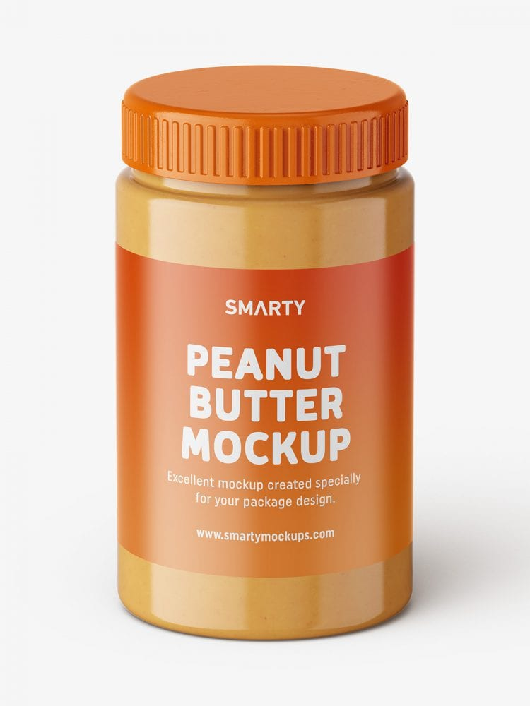 Peanut butter jar mockup / top view