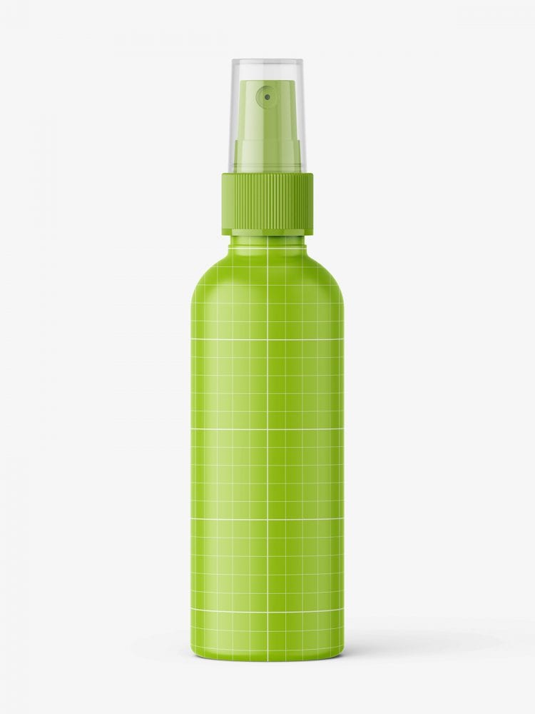 Transparent mist spray bottle mockup