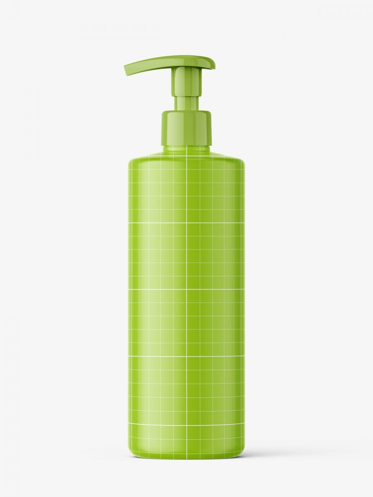 Bottle with pump mockup / transparent
