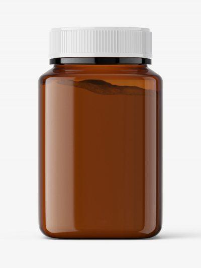 Square jar with powder mockup / amber