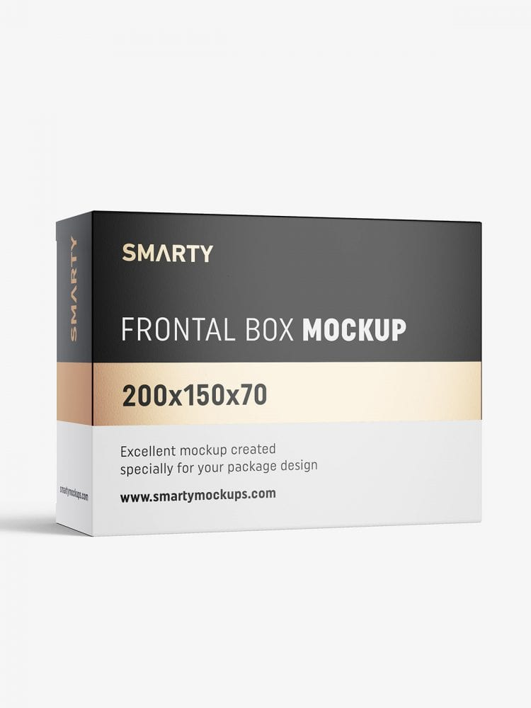 Box mockup / 200x50x70 mm / white - metallic - kraft