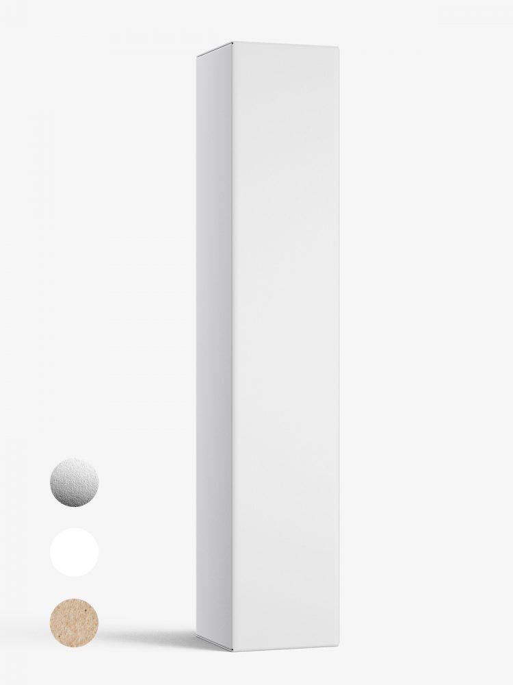 Box mockup / 25x130x25 mm / white - metallic - kraft