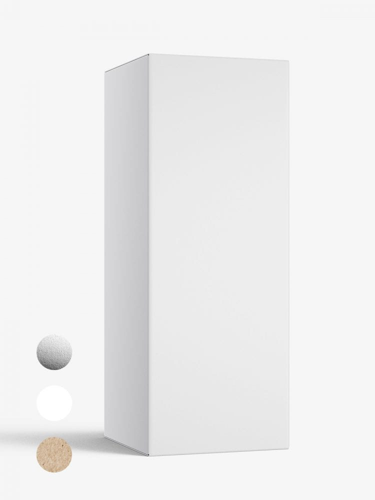 Box mockup / 50x130x50 mm / white - metallic - kraft