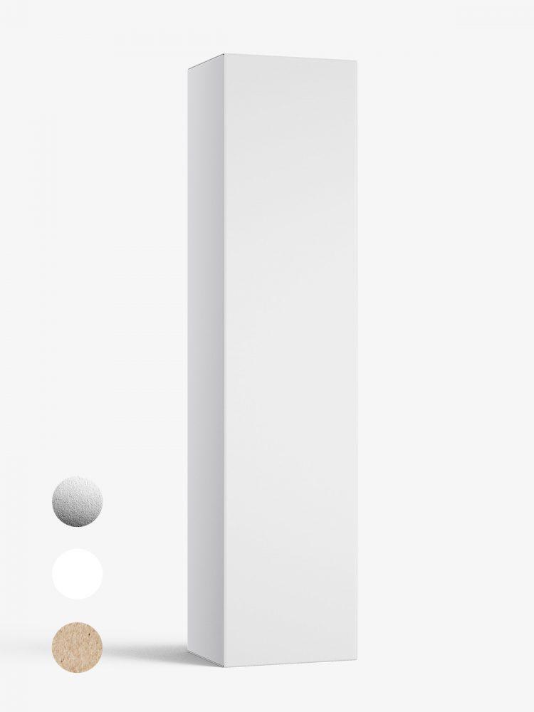 Box mockup / 50x210x40 mm / white - metallic - kraft