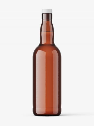 Amber vodka bottle mockup