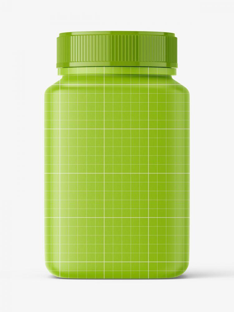 Square jar with fish oil capsules mockup