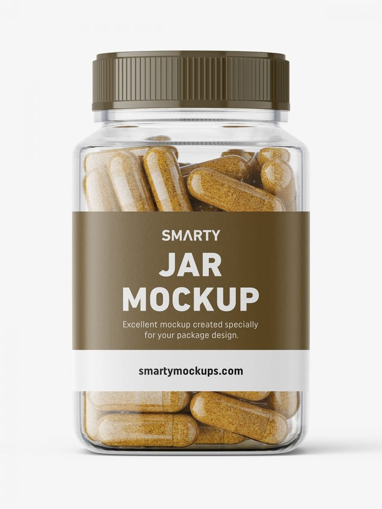 Square jar with herbal capsules mockup