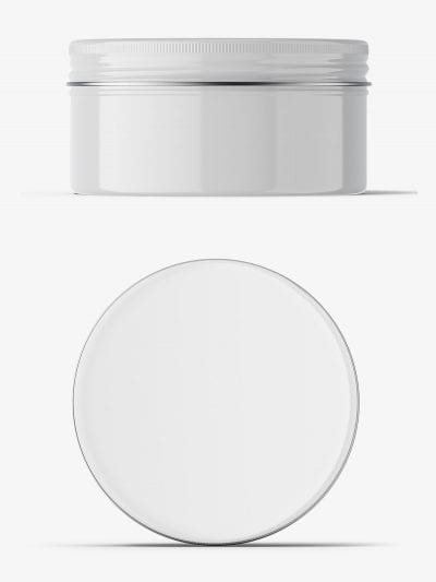Glossy tin cream jar mockup / top and front view