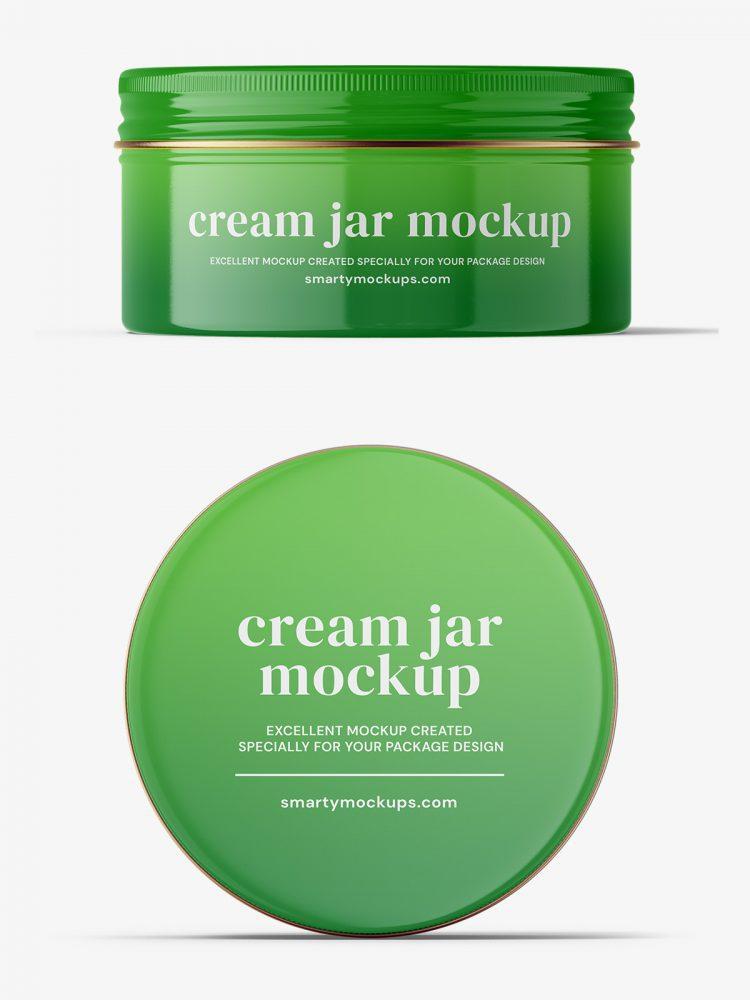 Glossy tin cream jar mockup / top and front view