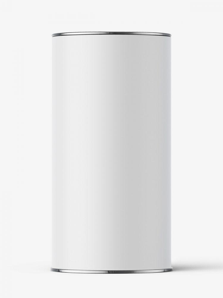 Paper tube with metallic lids mockup