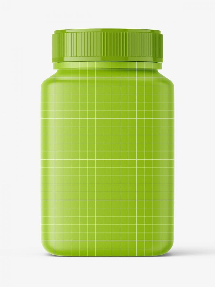 Square jar with pills mockup / amber