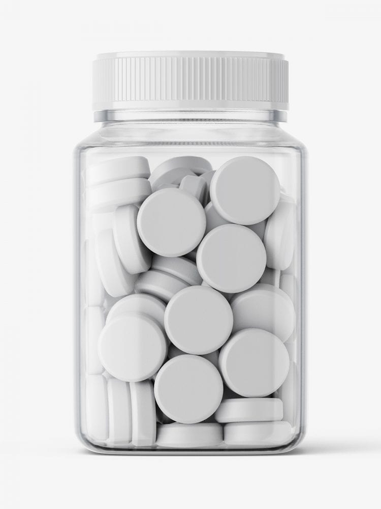 Square jar with tablets mockup