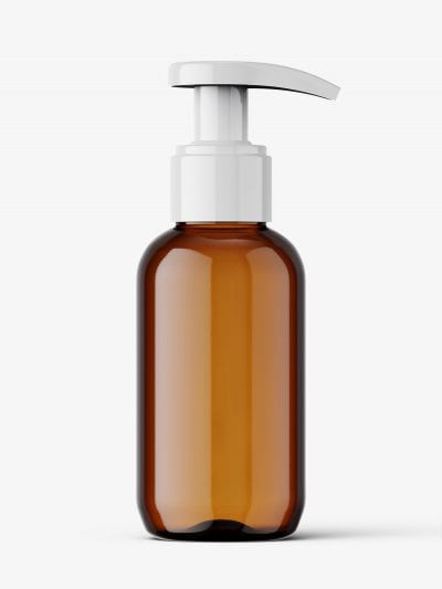 Amber bottle with pump mockup / 100 ml
