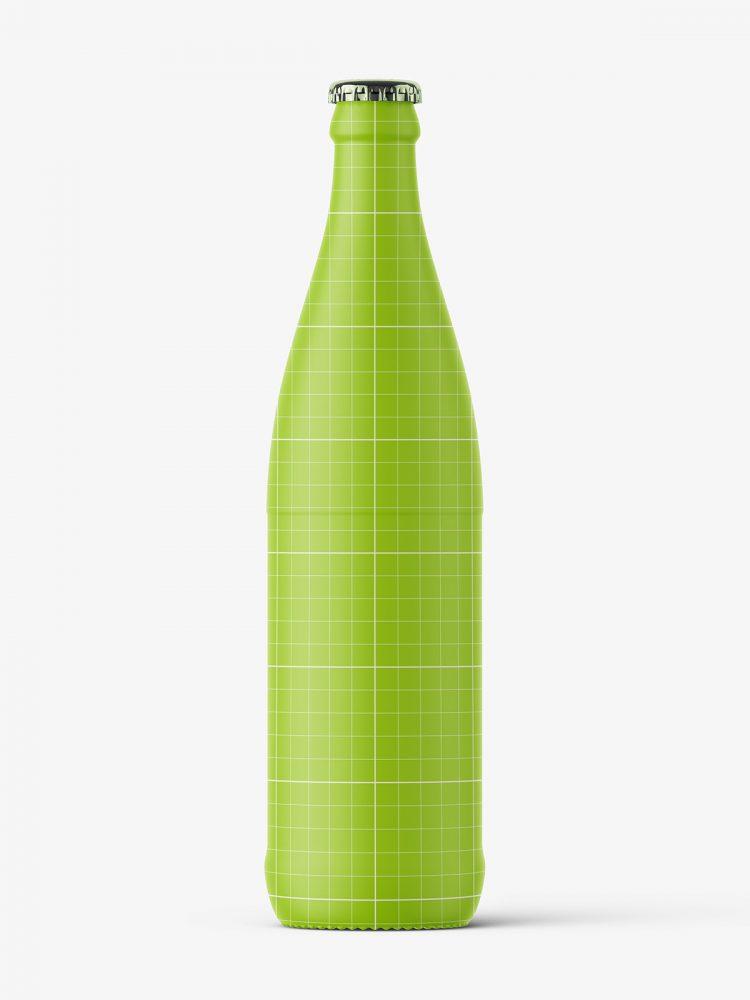 Transparent beer bottle mockup