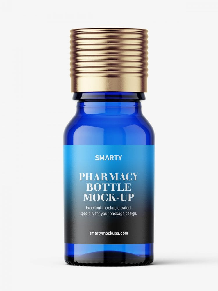 Blue pharmaceutical bottle with silver cap