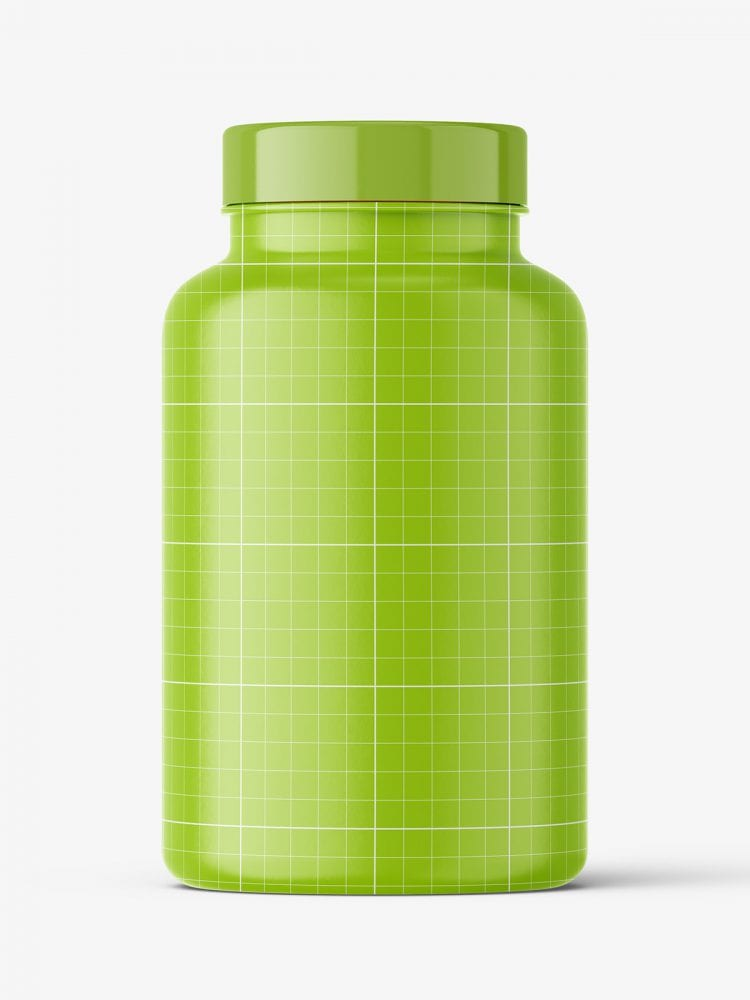 Jar with capsules mockup / amber