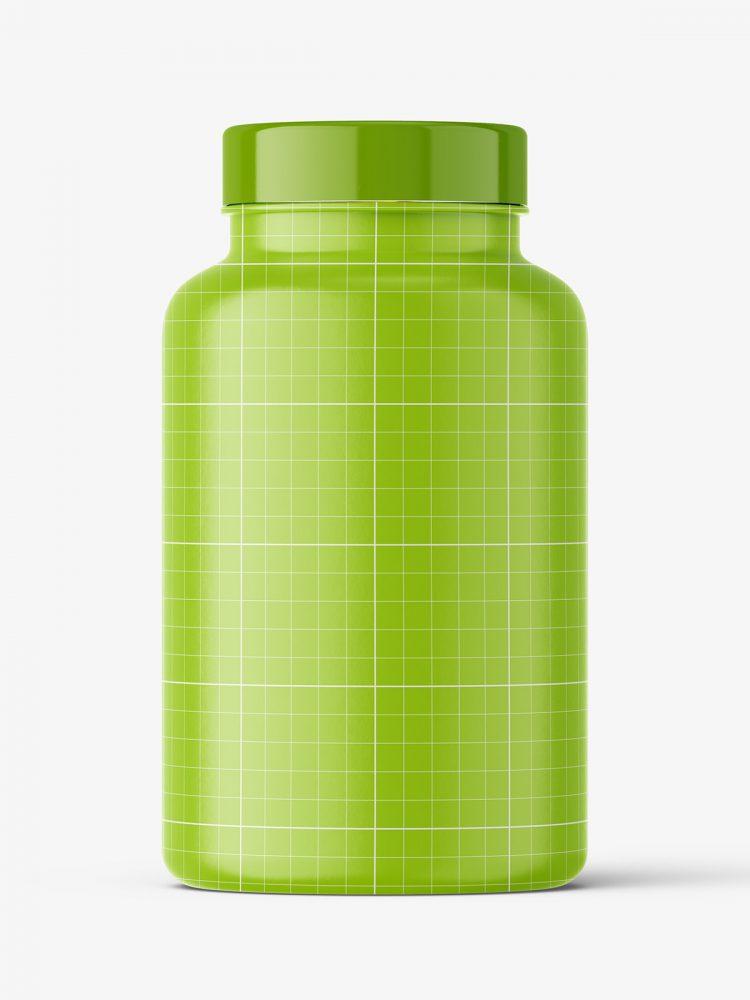 Jar with fish oil capsules mockup