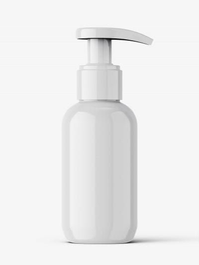 Glossy bottle with pump mockup / 100 ml