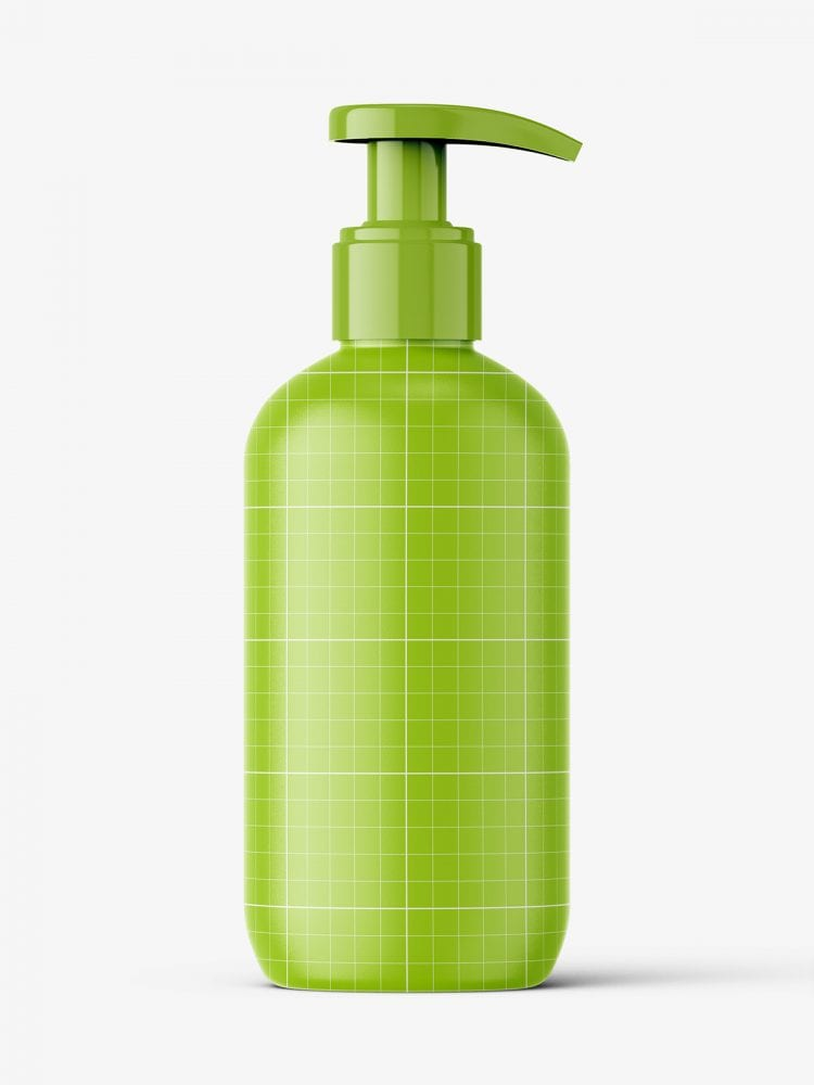 Glossy bottle with pump mockup / 250 ml