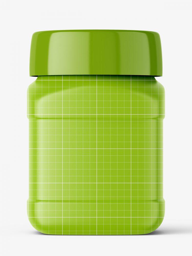 Square jar mockup / glossy
