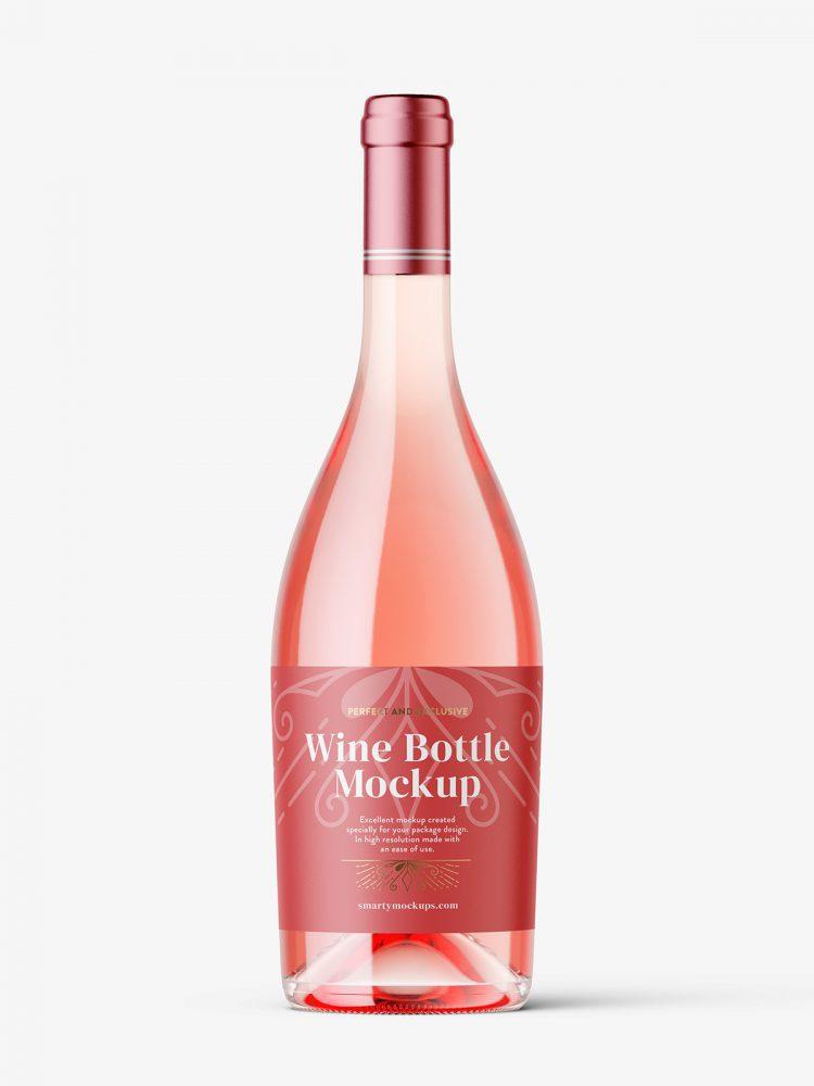 Rose wine bottle mockup