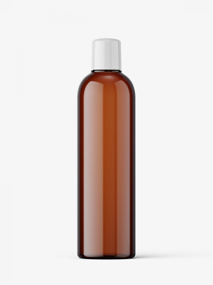 Amber bottle mockup with rounded screwcap mockup
