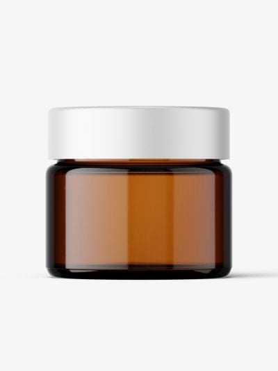 Cosmetic jar mockup with cap / 15ml / amber