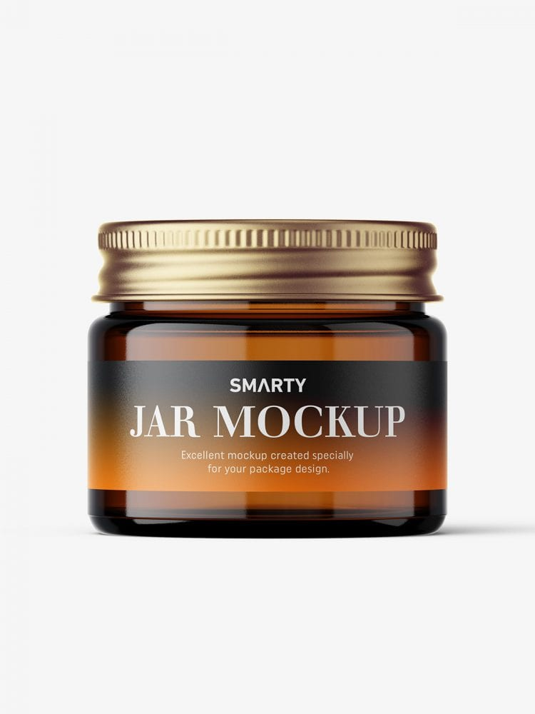 Cosmetic jar mockup with silver cap / 15ml / amber