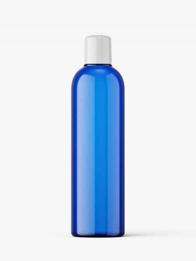 Blue bottle mockup with rounded screwcap mockup
