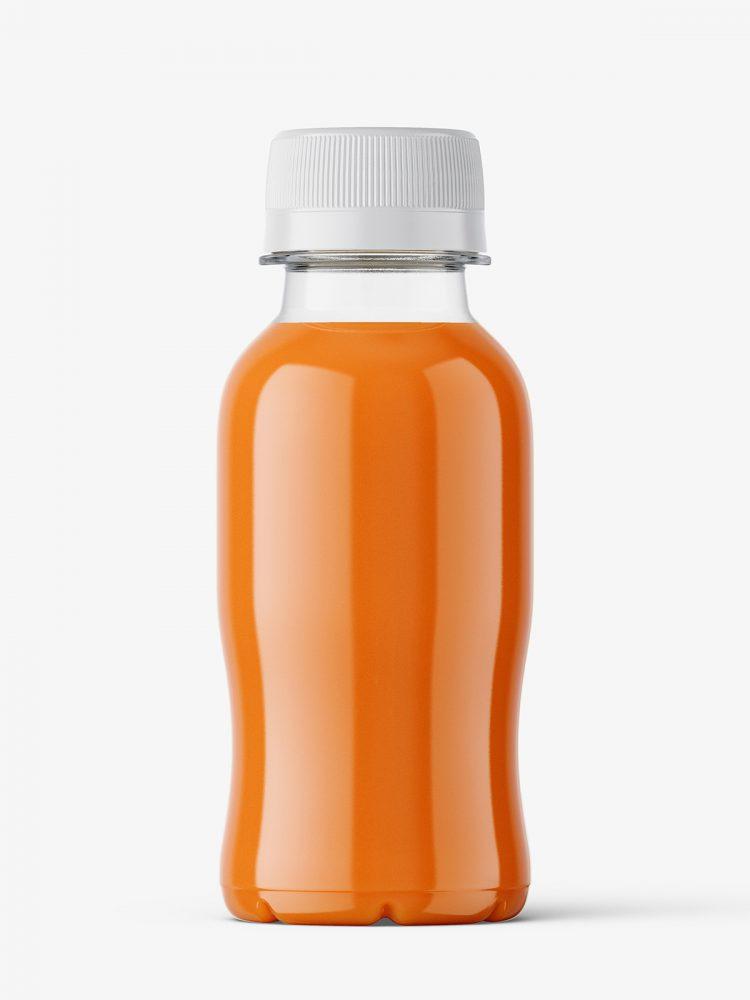 Small carrot juice bottle mockup