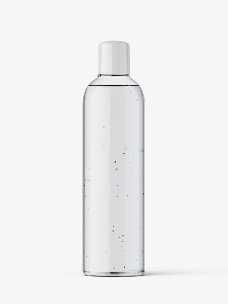Clear bottle mockup with rounded screwcap mockup