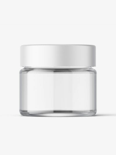 Cosmetic jar mockup with cap / 15ml / clear