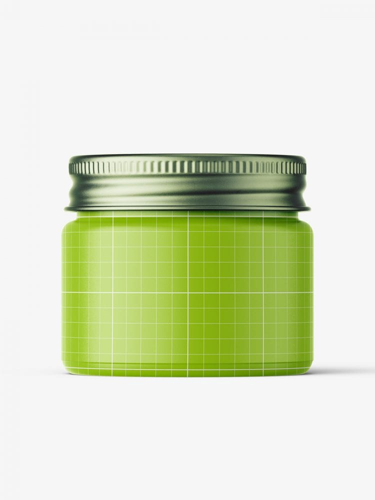 Cosmetic jar mockup with silver cap / 15ml / clear