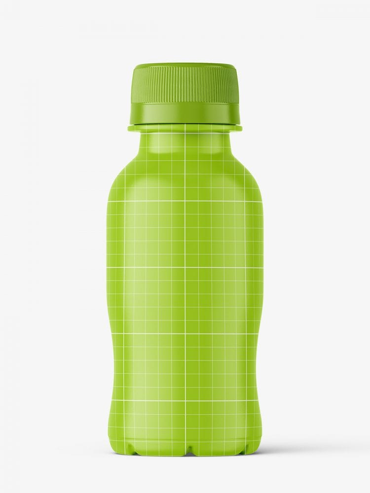 Small clear juice bottle mockup