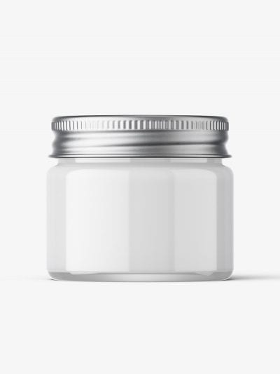 Cosmetic jar mockup with silver cap / 15ml / cream