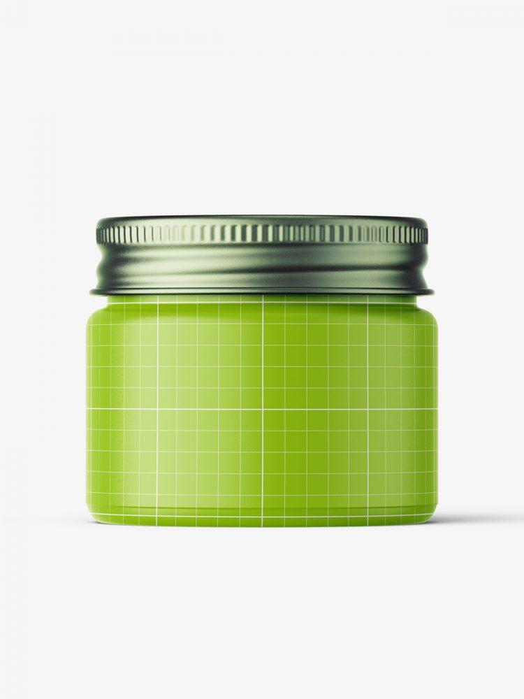 Cosmetic jar mockup with silver cap / 15ml / gel