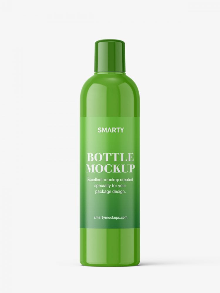 Glossy bottle mockup with rounded screwcap mockup