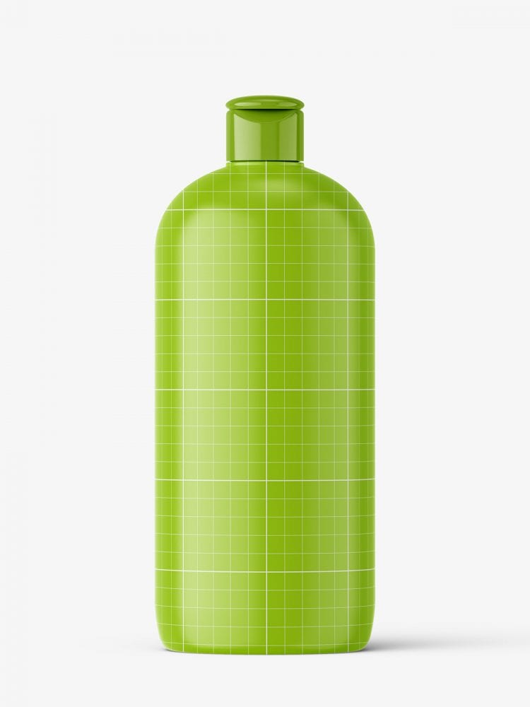 Green bottle mockup with flip top mockup
