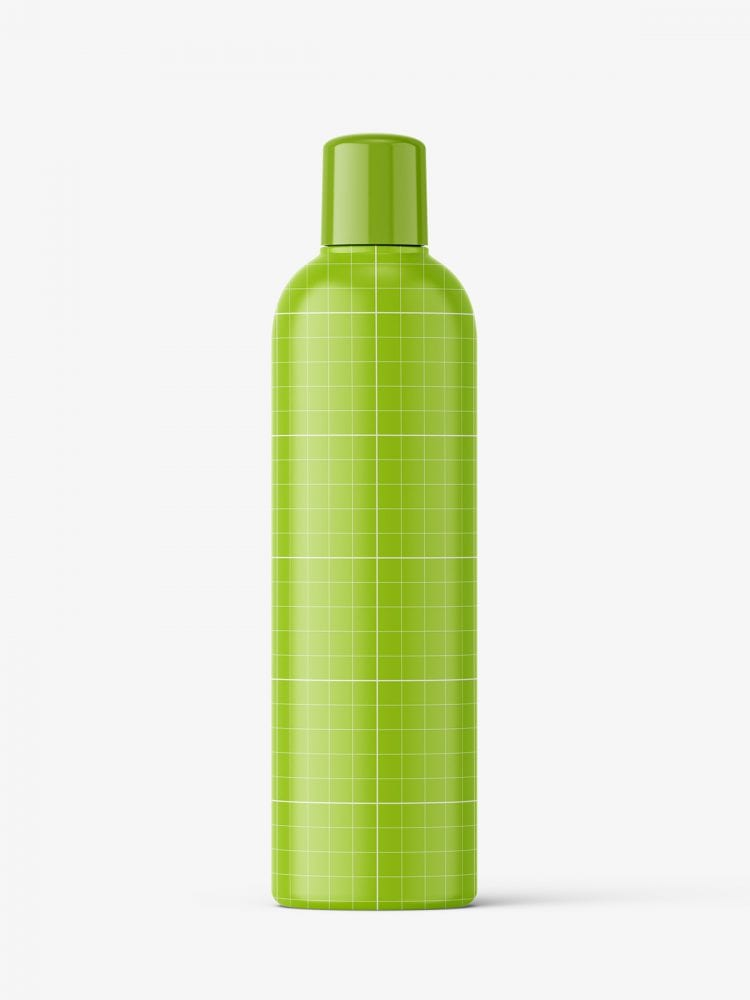 Green bottle mockup with rounded screwcap mockup