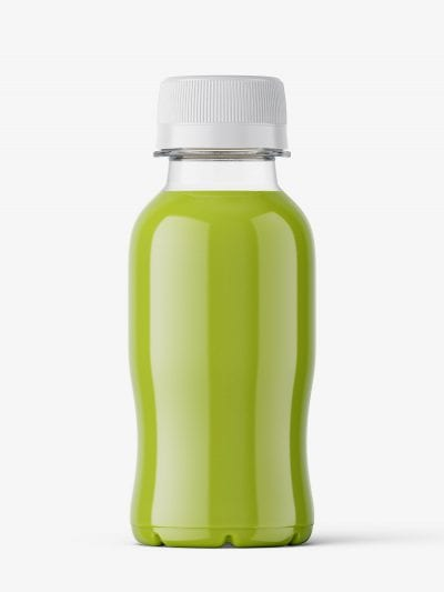 Small green juice bottle mockup