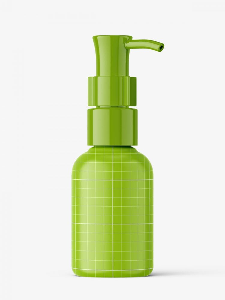 Small green bottle with dispenser mockup