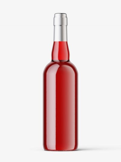 Red wine in clear bottle mockup