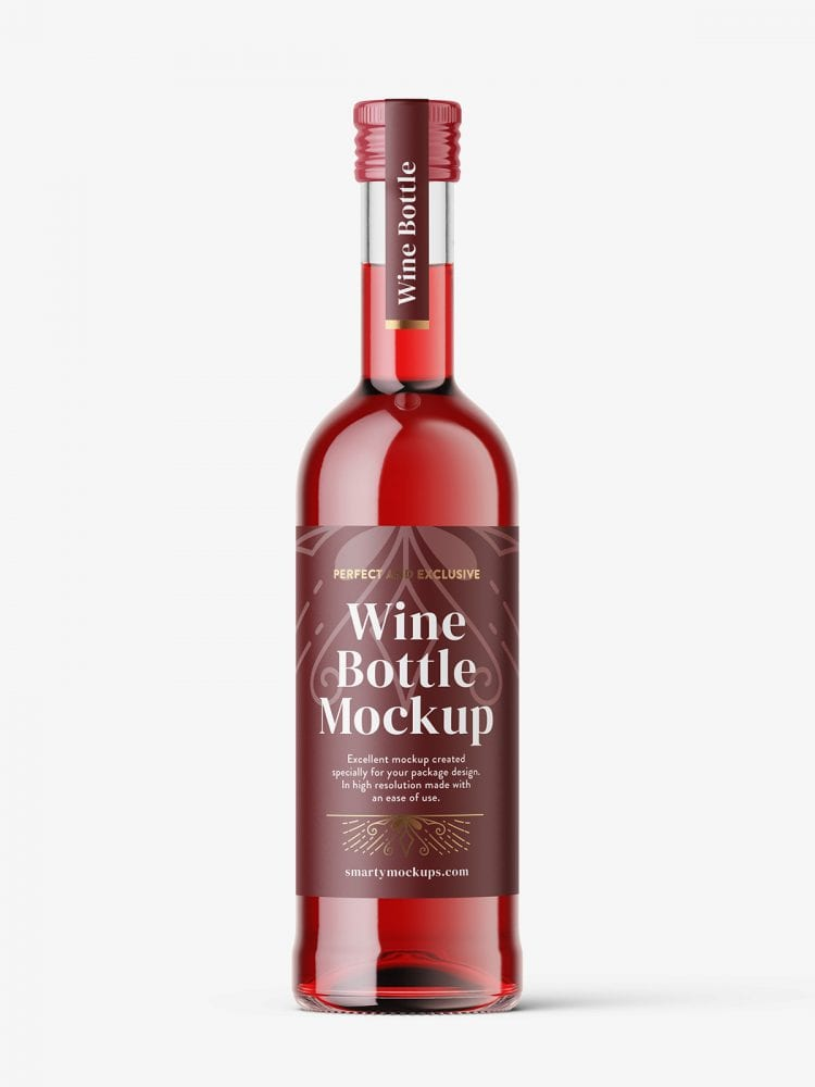 Small red wine bottle mockup