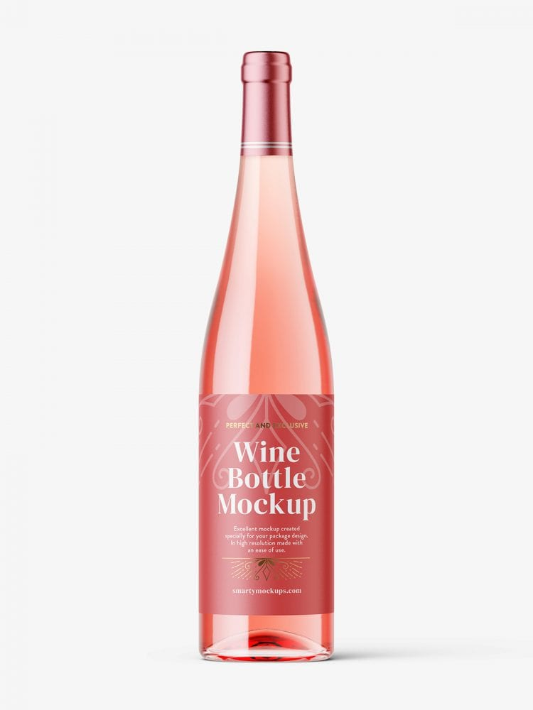 Rose wine bottle mockup