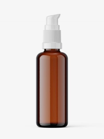 Airless pump bottle mockup / amber