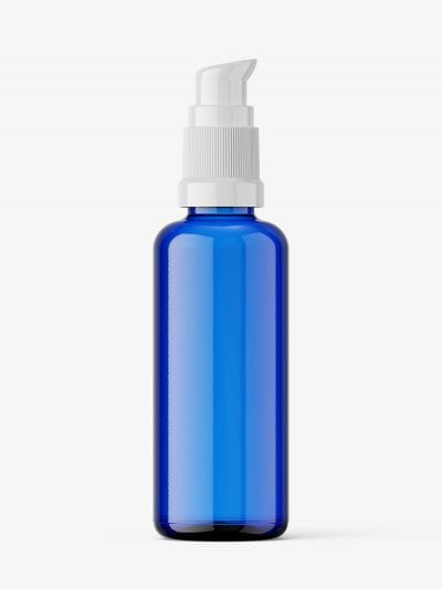 Airless pump bottle mockup / blue